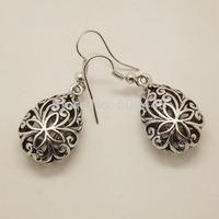 EQ055 Unique Tibetan Silver Hollow Water Tear Drop Fashion Retro Vintage Earrings For Women  Wholesale Valentine's Day Gift