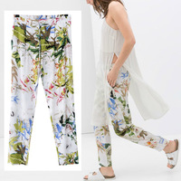 New Vintage Summer Fashion Women Elastic Floral Print Cotton Blend Elastic waist Trousers Pants Legging