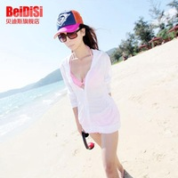 Fashion Bikini hood shirt long sleeves beach sunscreen clothing Sunscreen shirt transparent Sun-protective shirt wholesale