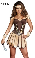New arrive!!Free shipping brown Roman warrior costume,halloween costumes for women cheaper price  HB840