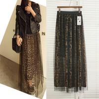 2014 women's summer chiffon leopard skirt beache outside gauze skirts long skirt leopard print skirts RD-129