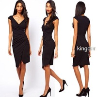 Evening dress 2014 new arrival,fashion deep V-neck front slit sexy dress irregular folds,cocktail dresses evening dresses