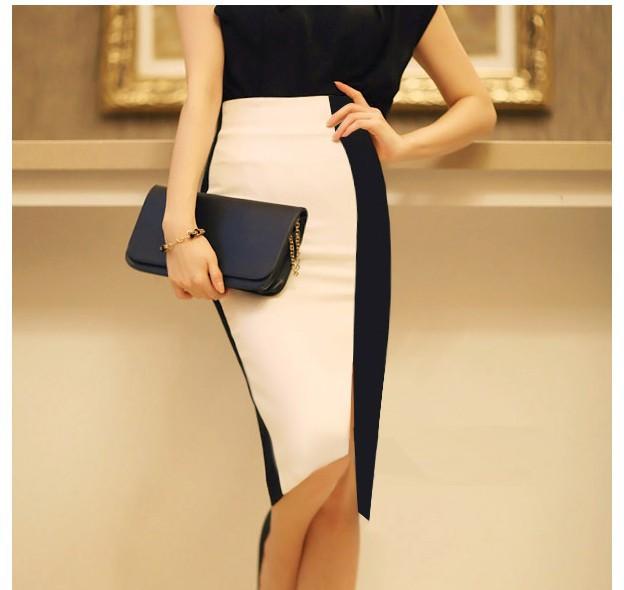 Сексуальный элегантный женщины юбки бизнес профессиональный юбка черный белый высокая Wasit офис-леди юбка