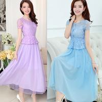 2014 summer breathable short-sleeve full dress cutout gauze bohemia chiffon one-piece dress new fashion lace elegant dresses hot
