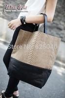 Hotting! 2014 new collection Fashion handbag Snake Pattern bucket shoulder bag large capacity tote patchwork women's handbags