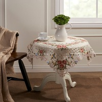 "Embroidery Cutwork  Square Rose Organza Table cloth 85X85CM SQ(33X33"")"