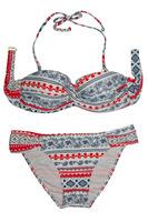 2014 New Vintage Print Bikini Set Bandeau Top Summer Swimwear Women Bathing Suit Sexy Two Pieces Beach Wear