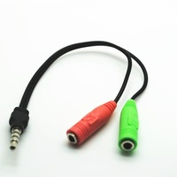 Free Shipping New 1x PC Headphone to Smart Phone Adapter 3.5mm 2 Female to Male Splitter Cable