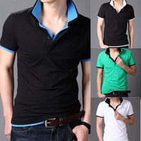 Cheap Shipping Double collar Mens Brand T Shirts men's Short Sleeve T- shirt Slim Fashion Male Casual Candy Color Summer T-shirt