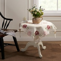 """Offwhite  Embroidery Cutwork  Pink  Rose  Table cloth 85X85CM SQ(33X33"""")"""