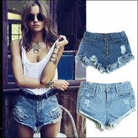 2014 For Women Vintage High Waist Shorts Jeans Feminino Ripped Hole Short Jeans Denim Female Distress Cutoffs Bermuda Shorts