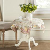 "Embroidery Cutwork  Pink  Rose Organza Table cloth 85X85CM SQ(33X33"")"