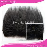 Natural looking Malaysian virgin hair kinky straight silk base lace frontal