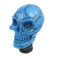 Universal Car Auto Manual Gear Stick Shift Shifter Lever Knob Wicked Carved Skull Blue