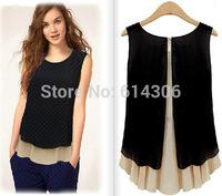 S-XL 2014 Brand New Modern Celebrity Stylish Chiffon Double Deck Shirt Sleeveless Women Fashion Pleated Inside Blouse Summer Hot