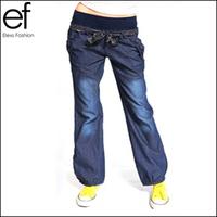Lanluu 2014 New Fashion Loose Wide Leg Jeans Bloomers Coveralls Elastic Waist Bow Denim Women Pants With Belt SQ220
