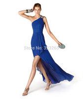 Free Shipping Pleated Royal Blue One Shoulder Chiffon High Low Bridesmaid Dresses LK038