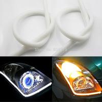 2x 45cm AudiStyle Tube Amber-White Switchback Headlight LED Strip DRL Daytime Running Light
