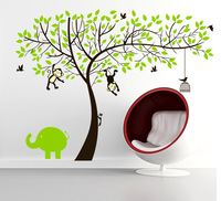 SIA 2014 New Large 2 Colors 2 Style Monkey Tree With  Birds Vinyl Kids Wall Sticker Cartoon Nursery Baby Cartoon Home Decor
