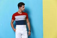 2014 men's new summer cotton short sleeve V-neck T-shirt  no:1401