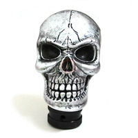 Metal Skull Head Truck Car Gear Shift Knob Shifter Cover Silver