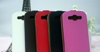 Promotion Deluxe Pure 5 Color Flip Leather Up/Down Open Case For Samsung Galaxy S3 i9300 9300 15pcs Free Shipping