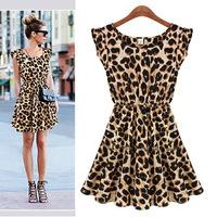 Spring new 2014 Women Summer Dress Casual Dresses Leopard grain Sleeveless Women Fashion Winter Dress Party Slim