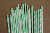 100PCs assorted light mint green paper straws - stripe/ chevron/ damask/ polka dots - with printable DIY flags