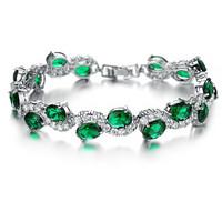 Classic 18K Gold Plated Bracelet Zirconia Big Green Stones Paved woman bracelet & bangle 926