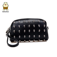 Day clutch female 2014 women's handbag skull messenger bag portable mini  small wallet Can shoulder bag