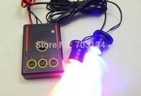 2pcs Mini Led + 1pc strobe controller Red-Blue/ White Flashing Car Motorcycle daytime running light Grille Aux warning Fog lamp