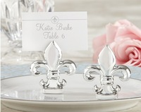 """Hotsale """"Fleur de Lis"""" Silver-finish place card holder ,Photo holder 50pcs/lot"""