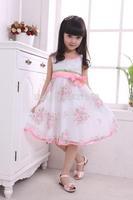 new 2014 summer dress girl dresses   summer rose chiffon princess child dress size 110-150 yards flower girl dresses GQ-362