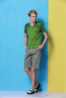 2014 men's new summer cotton short sleeve V-neck T-shirt  no:1406