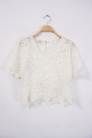 2014 women's spring lace crochet cutout sweater loose basic shirt knitted shirt t-shirt female