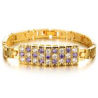 Trendy 18K Gold Plated Bracelet Zirconia Purple with White  Stones Paved woman bracelet & bangle 415