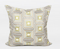 zm002,45*45 cm, Nordic Beige Embroidery Geometric Check Plaid Contemporary Pillow Cushion Sectional Couch Cover Hotel Soft Decor