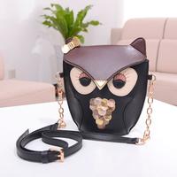 2014 New Fashion Women's PU Leather Handbags Lady Cartoon Owl Shoulder Bags Girls Casual Messenger Bags, Free Shipping