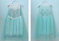 New 2014 Frozen Dress Baby & Kids Girl Summer Fashion Sequins Chiffon Dress +Cotton Yarn Cloak Lace Blue Princess Elsa Dresses