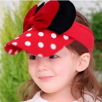 5PCS Free Shipping 2014 New Fashion Lovely Cartoon Big Bowknot Round Dot Children Sun Hats Kids Summer Hats 870141