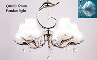 Pendant light LED Candle/chain adjustable/white feather fabric shade/swan 5heads/free shippingled/hanging/bedroom/energy save