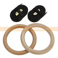 10Pairs High Density Olympic  Wooden Gymnastic Rings Crossfit Gym Workout Exercise With Buckles Straps For Suspension Training