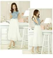 2014 summer new Korean women Slim pleated chiffon dress length  denim  short-sleeved dress belt