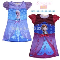 Hot Sale Frozen Elsa and Anna princess dress new 2014 super beautiful girls dress high quality summer dress retail