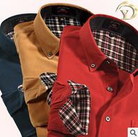 2014 Spring Summer New Designer Men Corduroy Plaid Shirt Plus Large Size Men  Casual Leisure Men Long Sleeve Brand Top Blouse