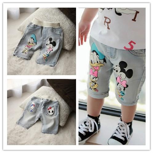 Novos 2014 calças meninos menina infantil Minnie Mouse Olá Kitty impressão bolsos calças jeans meninas bonito meia calça de jeans garoto roupas(China (Mainland))