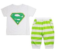 new 2014 superman sign boys clothing set cotton short-sleeve t shirt + shorts kids clothes sets fashion kids sets