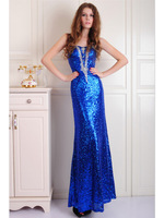 Royal blue sequin beading sweetheart sheath party dresses prom gown custom made free shipping 1008