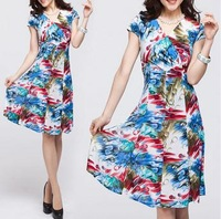 2014 summer new large size women's Floral Dress Wholesale(freeshipping)