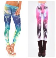 L-488 New 2014 Milky Way Galaxy Cosmic Lightning Colorful Rainbow Show Thin Skinny Pencil Pants Fashion Women's Leggings Autumn